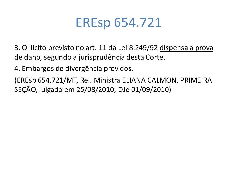 EREsp 654.721 3. O ilícito previsto no art. 11 da Lei 8.249/92 dispensa a prova de dano, segundo a jurisprudência desta Corte. 4. Embargos de divergên