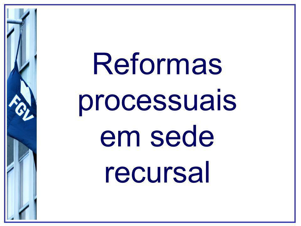 ReformaBase legalCaracterísticas Súmula vinculante Súmula impeditiva de recursos Repercussão geral no RE Julgamento de recursos por amostragem Em duplas, preencher a seguinte tabela: