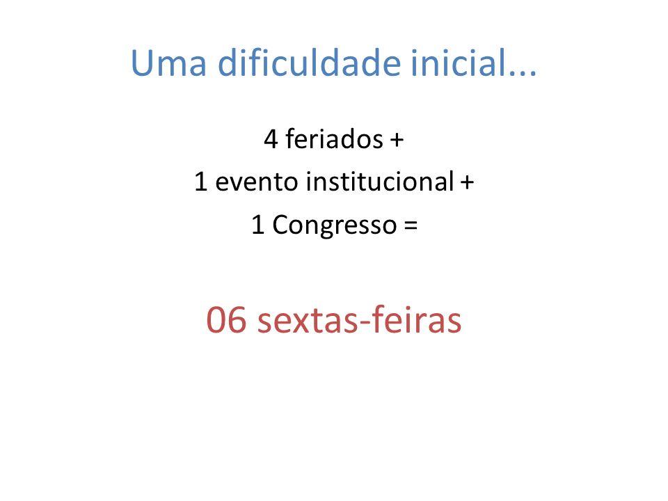 Uma dificuldade inicial... 4 feriados + 1 evento institucional + 1 Congresso = 06 sextas-feiras