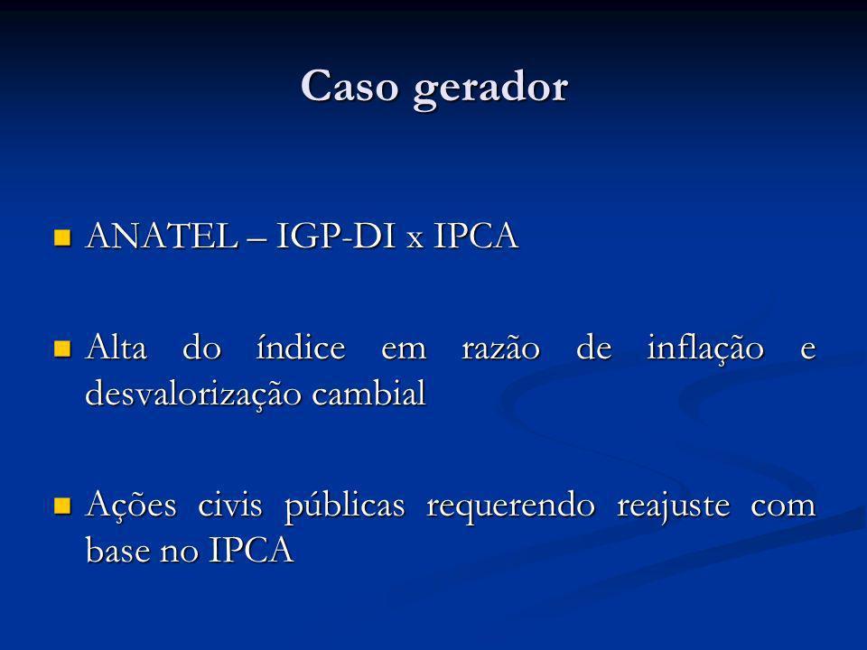 Caso gerador ANATEL – IGP-DI x IPCA ANATEL – IGP-DI x IPCA Alta do índice em razão de inflação e desvalorização cambial Alta do índice em razão de inflação e desvalorização cambial Ações civis públicas requerendo reajuste com base no IPCA Ações civis públicas requerendo reajuste com base no IPCA