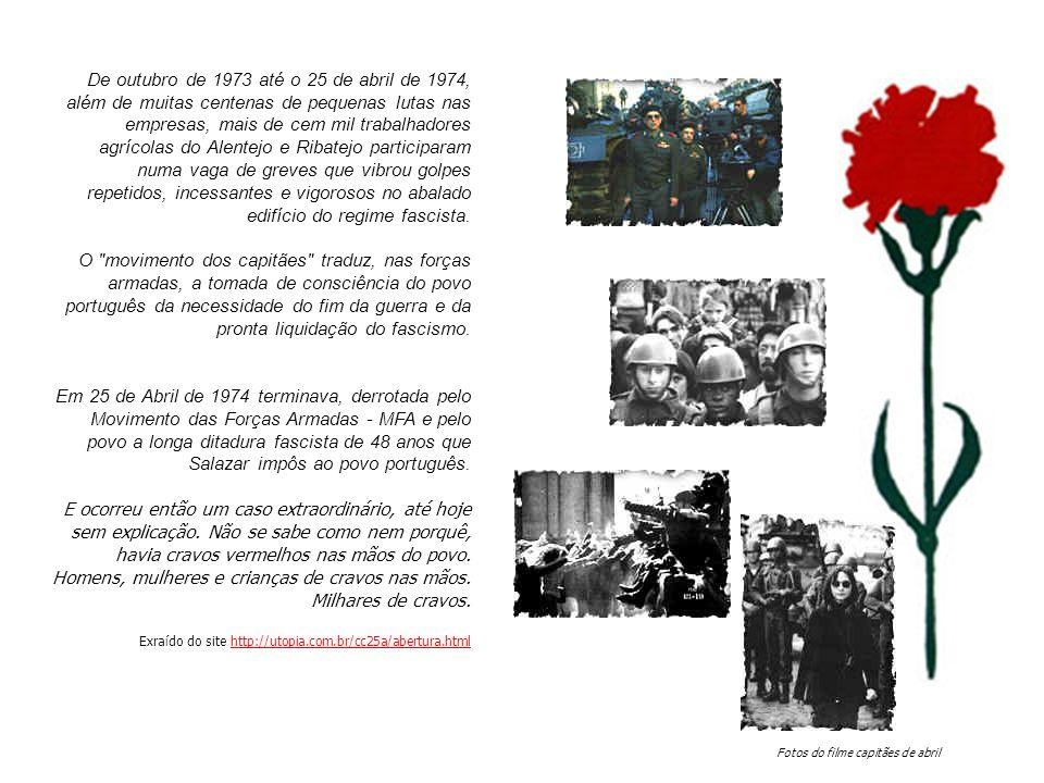 De outubro de 1973 até o 25 de abril de 1974, além de muitas centenas de pequenas lutas nas empresas, mais de cem mil trabalhadores agrícolas do Alentejo e Ribatejo participaram numa vaga de greves que vibrou golpes repetidos, incessantes e vigorosos no abalado edifício do regime fascista.
