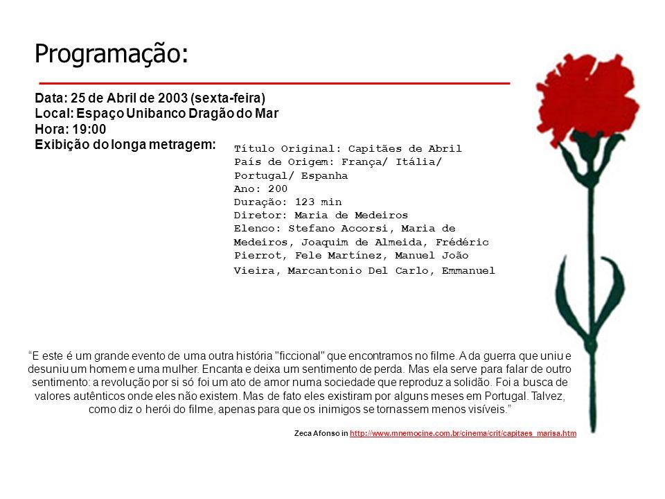 Programação: Data: 25 de Abril de 2003 (sexta-feira) Local: Espaço Unibanco Dragão do Mar Hora: 19:00 Exibição do longa metragem: Título Original: Cap