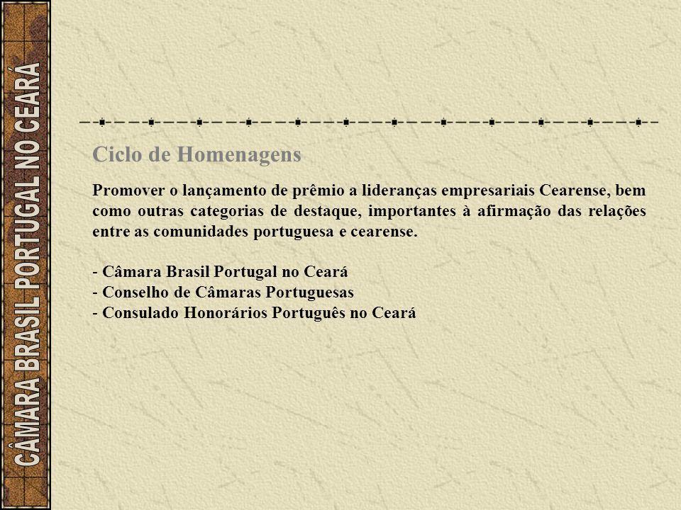 Ciclo de Homenagens Promover o lançamento de prêmio a lideranças empresariais Cearense, bem como outras categorias de destaque, importantes à afirmaçã