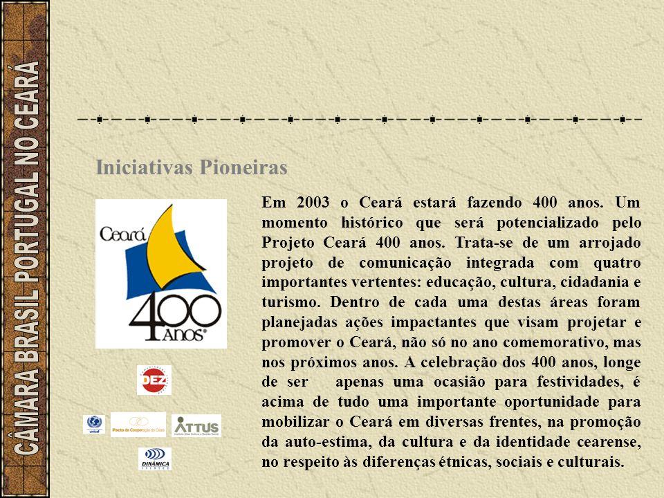 Iniciativas Pioneiras Em 2003 o Ceará estará fazendo 400 anos. Um momento histórico que será potencializado pelo Projeto Ceará 400 anos. Trata-se de u
