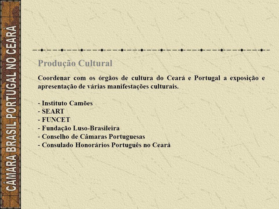 Produção Cultural Coordenar com os órgãos de cultura do Ceará e Portugal a exposição e apresentação de várias manifestações culturais. - Instituto Cam