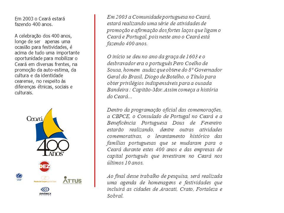 Realização: Apoio: Consulado de Portugal em Fortaleza Beneficência Portuguesa Dous de Fevereiro origens 31 DE JUNHO DE 1603 25 DE JUNHO DE 2003