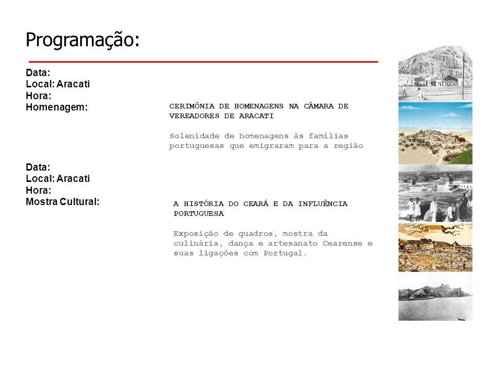 Programação: Data: Local: Aracati Hora: Homenagem: A HISTÓRIA DO CEARÁ E DA INFLUÊNCIA PORTUGUESA Exposição de quadros, mostra da culinária, dança e a