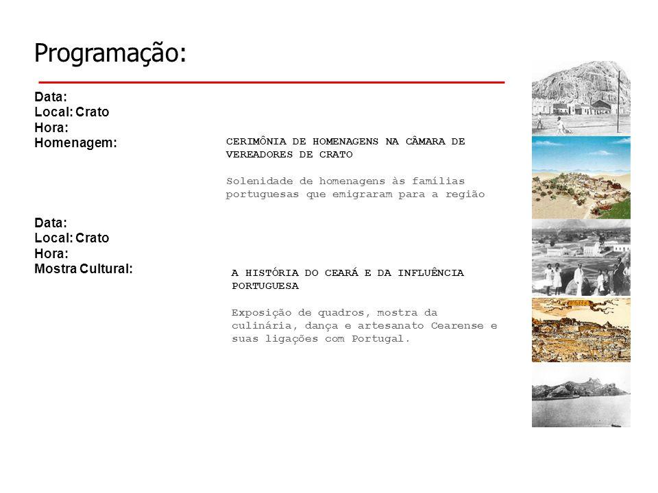 Programação: Data: Local: Crato Hora: Homenagem: A HISTÓRIA DO CEARÁ E DA INFLUÊNCIA PORTUGUESA Exposição de quadros, mostra da culinária, dança e artesanato Cearense e suas ligações com Portugal.