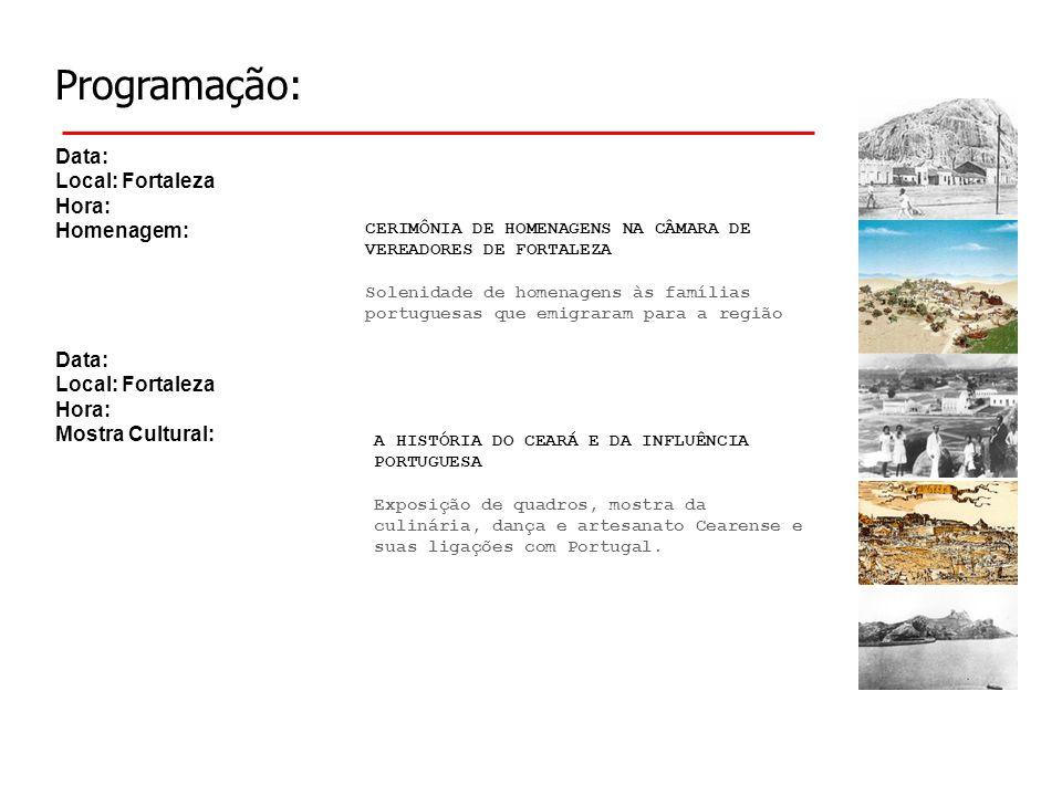 Programação: Data: Local: Sobral Hora: Homenagem: A HISTÓRIA DO CEARÁ E DA INFLUÊNCIA PORTUGUESA Exposição de quadros, mostra da culinária, dança e artesanato Cearense e suas ligações com Portugal.