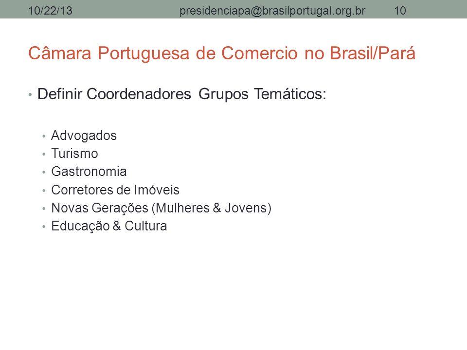 Câmara Portuguesa de Comercio no Brasil/Pará Definir Coordenadores Grupos Temáticos: Advogados Turismo Gastronomia Corretores de Imóveis Novas Geraçõe