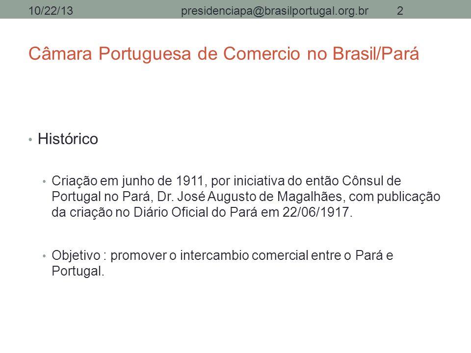 Câmara Portuguesa de Comercio no Brasil/Pará Histórico Criação em junho de 1911, por iniciativa do então Cônsul de Portugal no Pará, Dr. José Augusto
