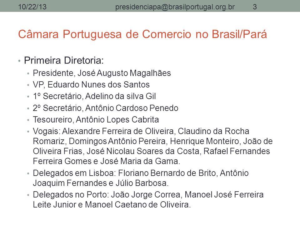 Câmara Portuguesa de Comercio no Brasil/Pará Primeira Diretoria: Presidente, José Augusto Magalhães VP, Eduardo Nunes dos Santos 1º Secretário, Adelin
