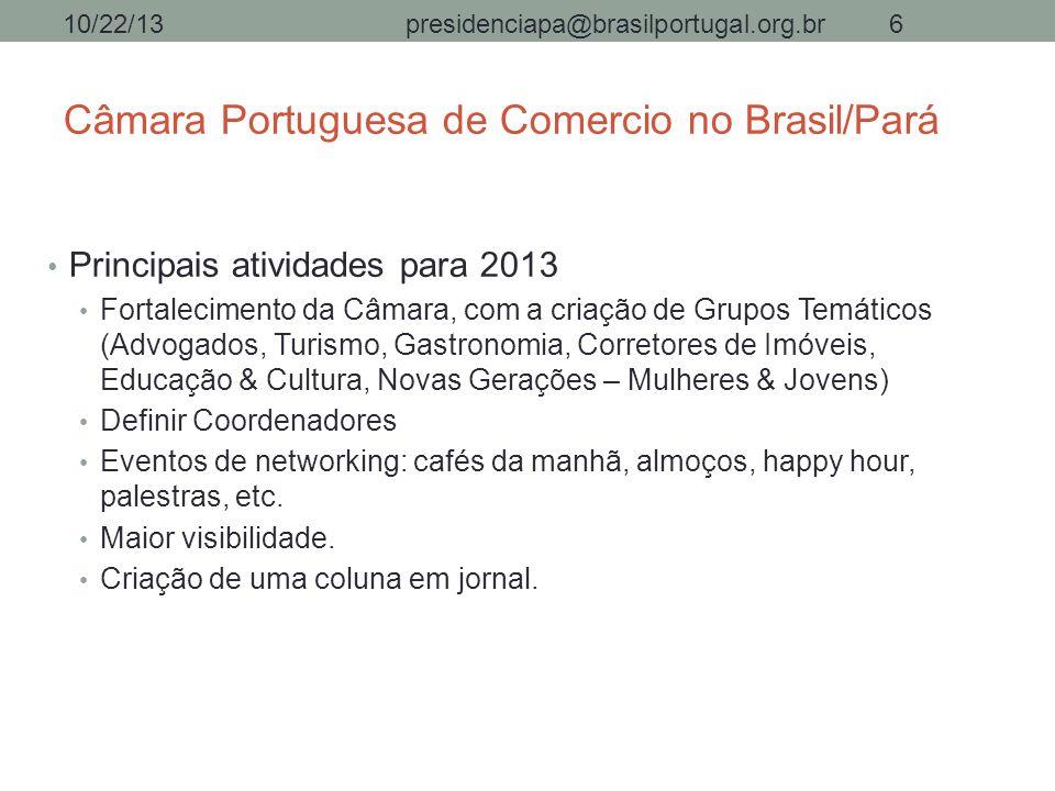 Câmara Portuguesa de Comercio no Brasil/Pará Principais atividades para 2013 Fortalecimento da Câmara, com a criação de Grupos Temáticos (Advogados, T