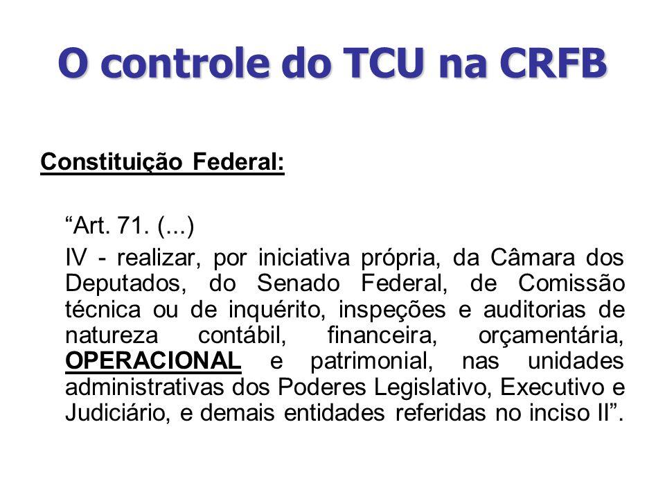 O controle do TCU na CRFB Constituição Federal: Art. 71. (...) IV - realizar, por iniciativa própria, da Câmara dos Deputados, do Senado Federal, de C