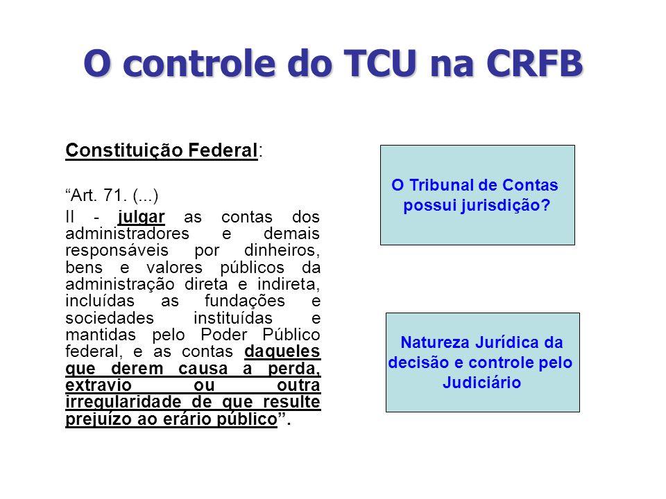 O controle do TCU na CRFB Constituição Federal: Art. 71. (...) II - julgar as contas dos administradores e demais responsáveis por dinheiros, bens e v