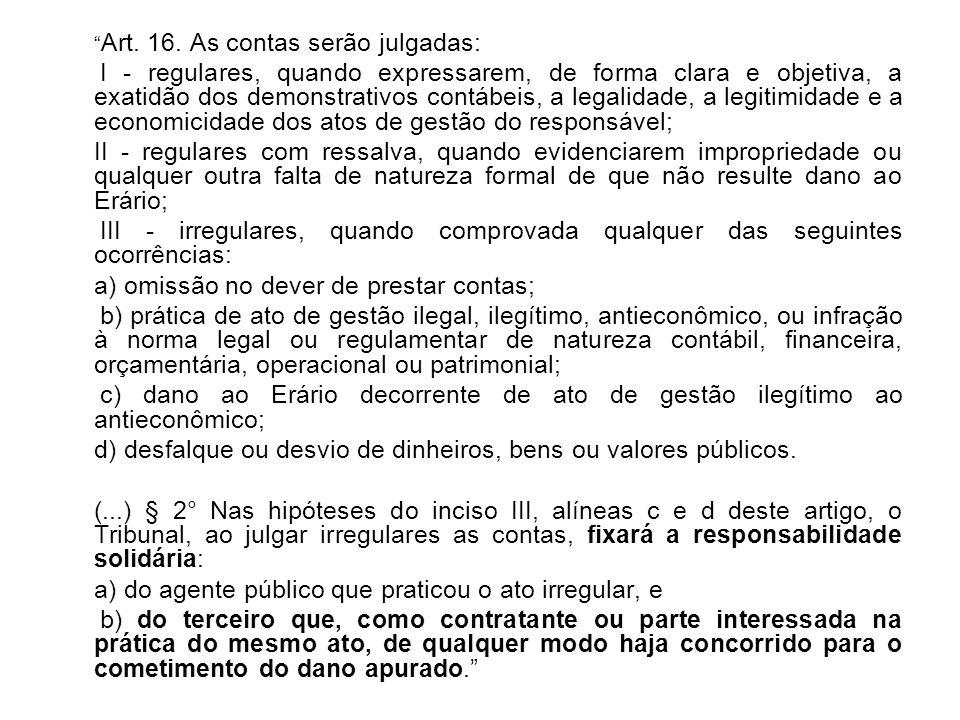 Art. 16. As contas serão julgadas: I - regulares, quando expressarem, de forma clara e objetiva, a exatidão dos demonstrativos contábeis, a legalidade