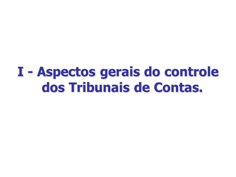 I - Aspectos gerais do controle dos Tribunais de Contas.