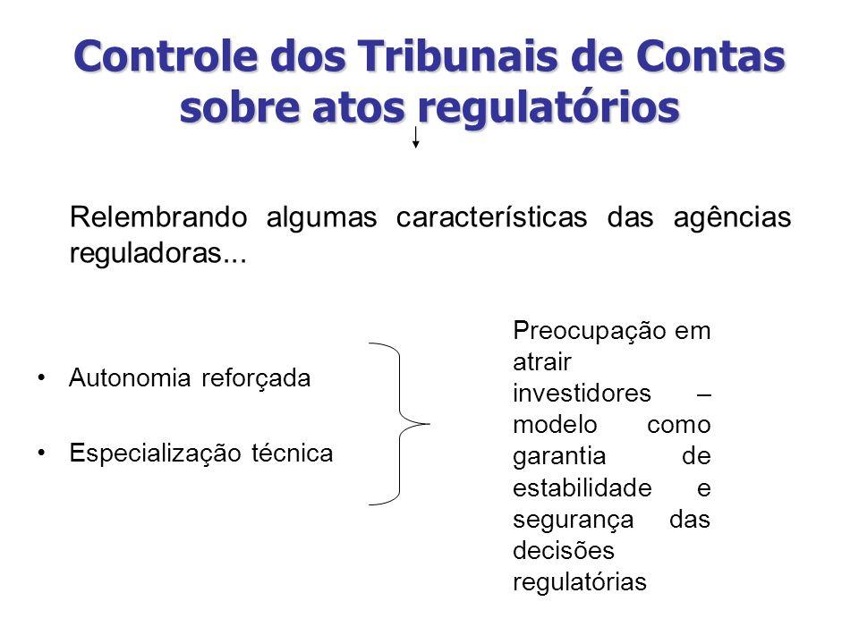 Controle dos Tribunais de Contas sobre atos regulatórios Relembrando algumas características das agências reguladoras... Autonomia reforçada Especiali