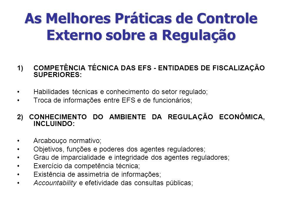 As Melhores Práticas de Controle Externo sobre a Regulação 1)COMPETÊNCIA TÉCNICA DAS EFS - ENTIDADES DE FISCALIZAÇÃO SUPERIORES: Habilidades técnicas