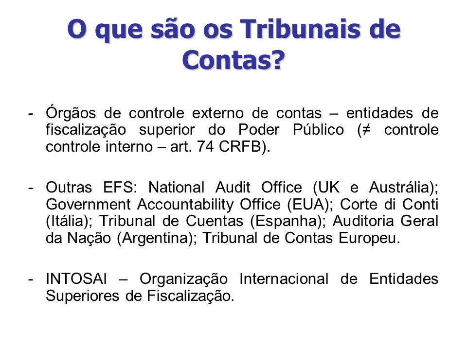 O que são os Tribunais de Contas? -Órgãos de controle externo de contas – entidades de fiscalização superior do Poder Público ( controle controle inte