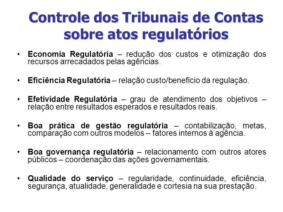 Controle dos Tribunais de Contas sobre atos regulatórios Economia Regulatória – redução dos custos e otimização dos recursos arrecadados pelas agência