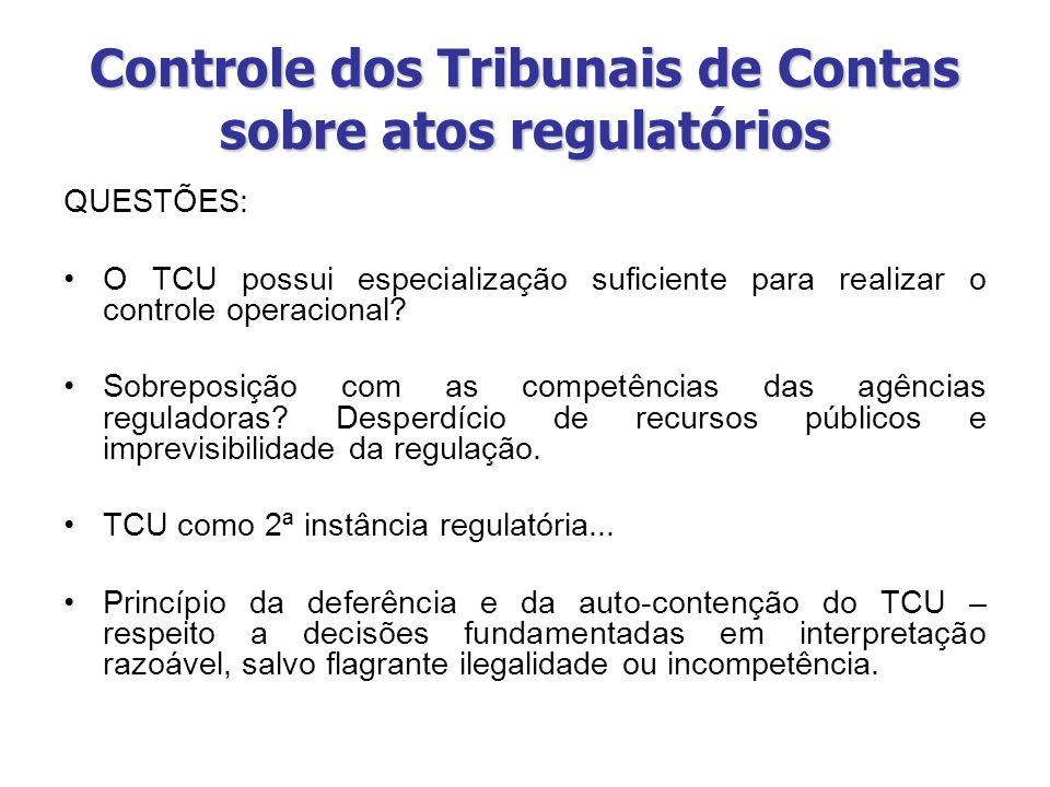 Controle dos Tribunais de Contas sobre atos regulatórios QUESTÕES: O TCU possui especialização suficiente para realizar o controle operacional? Sobrep