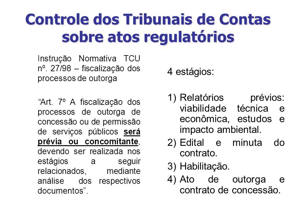Controle dos Tribunais de Contas sobre atos regulatórios Instrução Normativa TCU nº. 27/98 – fiscalização dos processos de outorga Art. 7º A fiscaliza