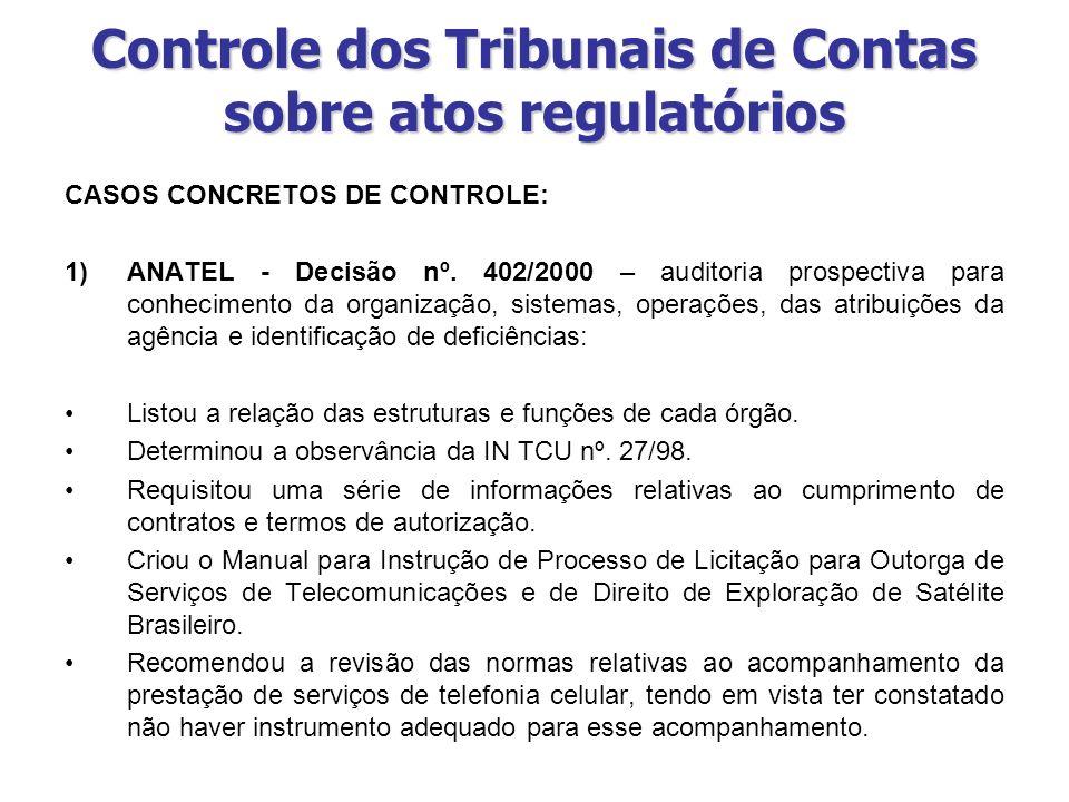 Controle dos Tribunais de Contas sobre atos regulatórios CASOS CONCRETOS DE CONTROLE: 1)ANATEL - Decisão nº. 402/2000 – auditoria prospectiva para con