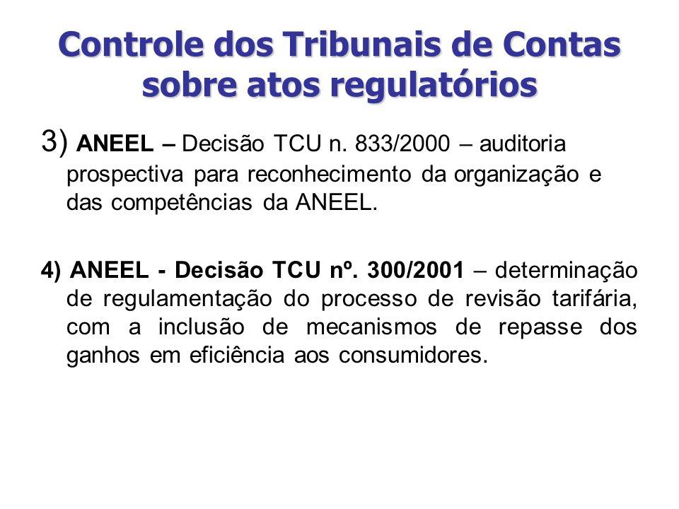 Controle dos Tribunais de Contas sobre atos regulatórios 3) ANEEL – Decisão TCU n. 833/2000 – auditoria prospectiva para reconhecimento da organização