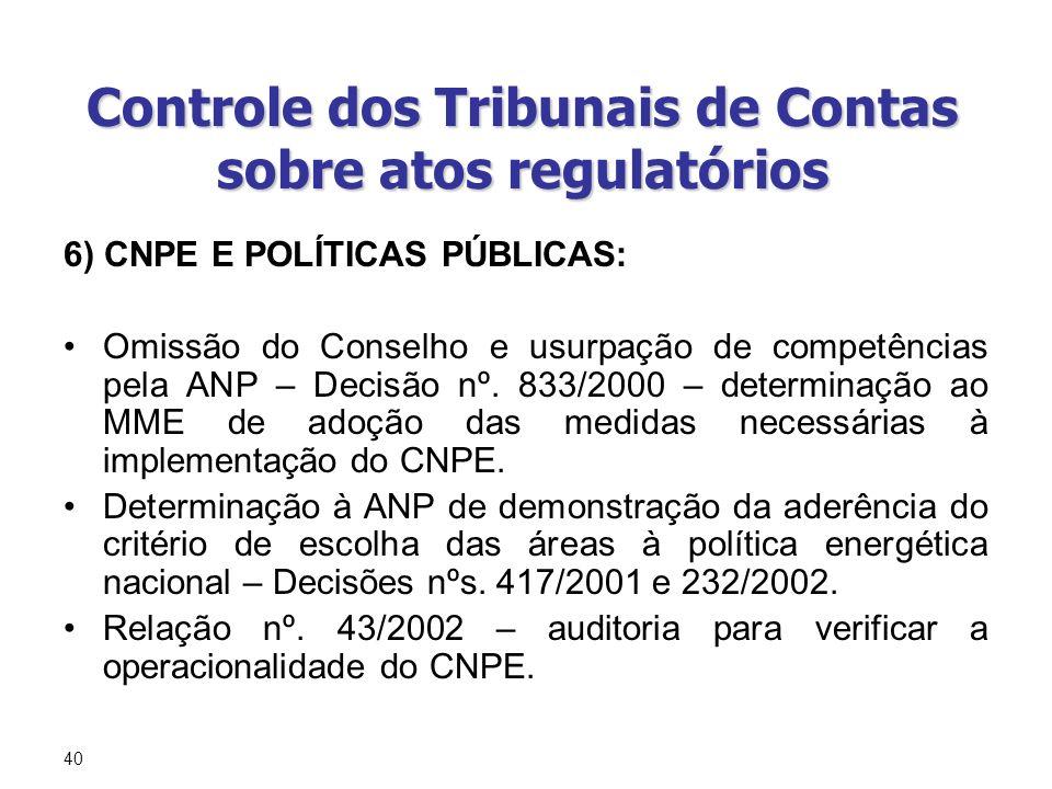 40 Controle dos Tribunais de Contas sobre atos regulatórios 6) CNPE E POLÍTICAS PÚBLICAS: Omissão do Conselho e usurpação de competências pela ANP – D