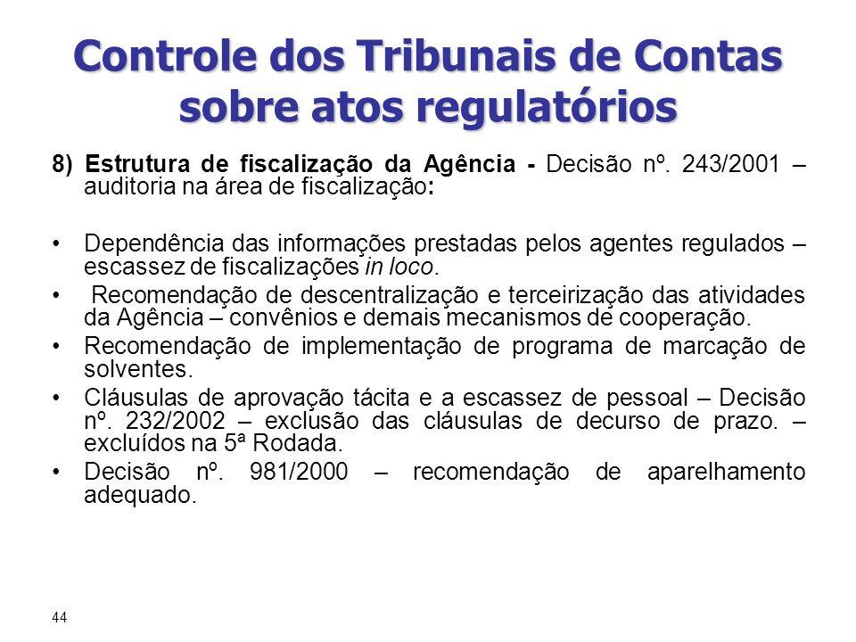 44 Controle dos Tribunais de Contas sobre atos regulatórios 8) Estrutura de fiscalização da Agência - Decisão nº. 243/2001 – auditoria na área de fisc
