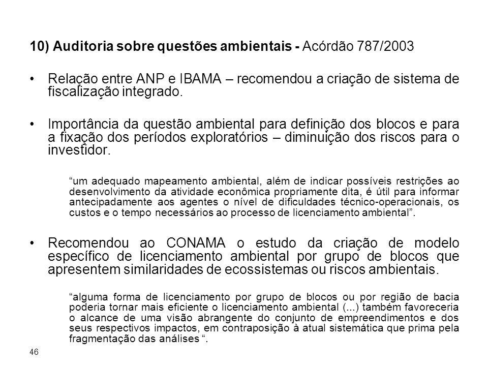 46 10) Auditoria sobre questões ambientais - Acórdão 787/2003 Relação entre ANP e IBAMA – recomendou a criação de sistema de fiscalização integrado. I