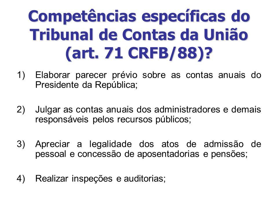 1)Elaborar parecer prévio sobre as contas anuais do Presidente da República; 2)Julgar as contas anuais dos administradores e demais responsáveis pelos