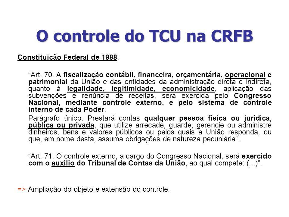 O controle do TCU na CRFB Constituição Federal de 1988: Art. 70. A fiscalização contábil, financeira, orçamentária, operacional e patrimonial da União
