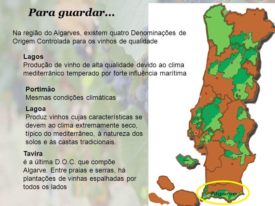 Para guardar... Na região do Algarves, existem quatro Denominações de Origem Controlada para os vinhos de qualidade Lagos Produção de vinho de alta qu