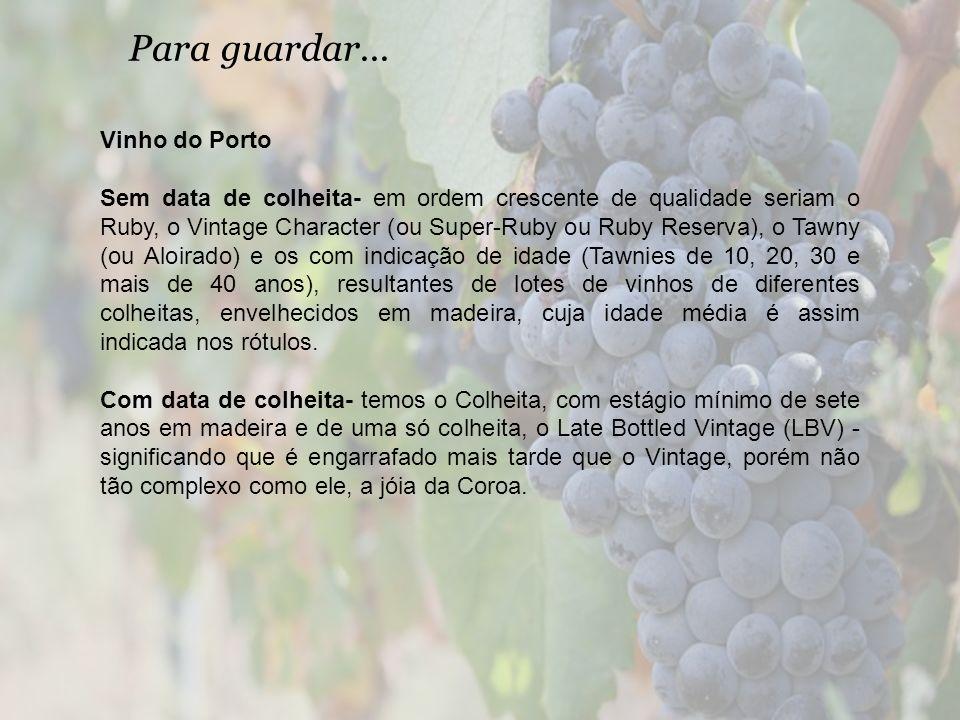 Para guardar... Vinho do Porto Sem data de colheita- em ordem crescente de qualidade seriam o Ruby, o Vintage Character (ou Super-Ruby ou Ruby Reserva