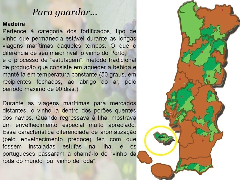 Para guardar... Madeira Pertence à categoria dos fortificados, tipo de vinho que permanecia estável durante as longas viagens marítimas daqueles tempo