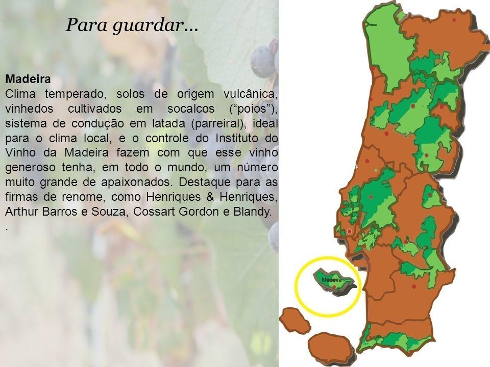 Para guardar... Madeira Clima temperado, solos de origem vulcânica, vinhedos cultivados em socalcos (poios), sistema de condução em latada (parreiral)