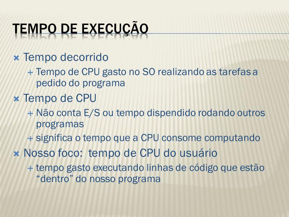 Tempo decorrido Tempo de CPU gasto no SO realizando as tarefas a pedido do programa Tempo de CPU Não conta E/S ou tempo dispendido rodando outros prog