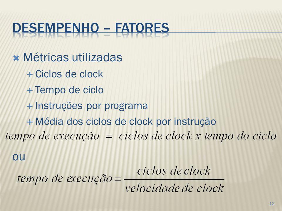 Métricas utilizadas Ciclos de clock Tempo de ciclo Instruções por programa Média dos ciclos de clock por instrução ou 12