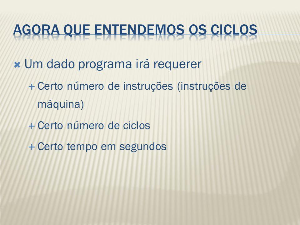 Um dado programa irá requerer Certo número de instruções (instruções de máquina) Certo número de ciclos Certo tempo em segundos