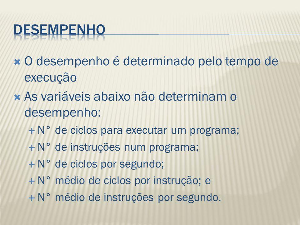 O desempenho é determinado pelo tempo de execução As variáveis abaixo não determinam o desempenho: N° de ciclos para executar um programa; N° de instruções num programa; N° de ciclos por segundo; N° médio de ciclos por instrução; e N° médio de instruções por segundo.