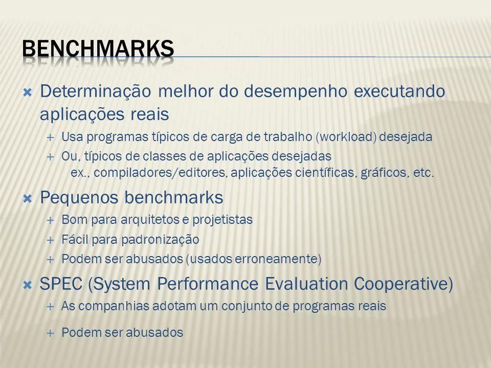 Determinação melhor do desempenho executando aplicações reais Usa programas típicos de carga de trabalho (workload) desejada Ou, típicos de classes de aplicações desejadas ex., compiladores/editores, aplicações científicas, gráficos, etc.