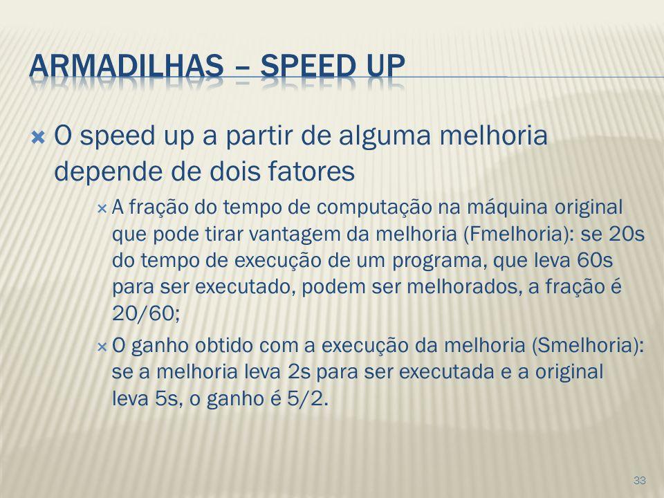 O speed up a partir de alguma melhoria depende de dois fatores A fração do tempo de computação na máquina original que pode tirar vantagem da melhoria (Fmelhoria): se 20s do tempo de execução de um programa, que leva 60s para ser executado, podem ser melhorados, a fração é 20/60; O ganho obtido com a execução da melhoria (Smelhoria): se a melhoria leva 2s para ser executada e a original leva 5s, o ganho é 5/2.