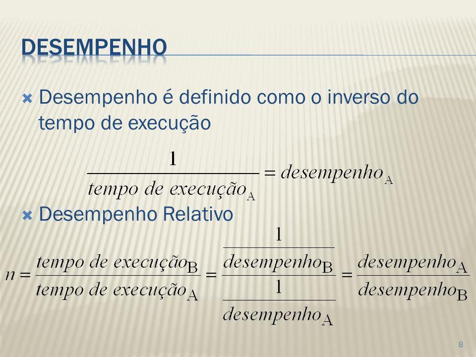 Desempenho é definido como o inverso do tempo de execução Desempenho Relativo 8