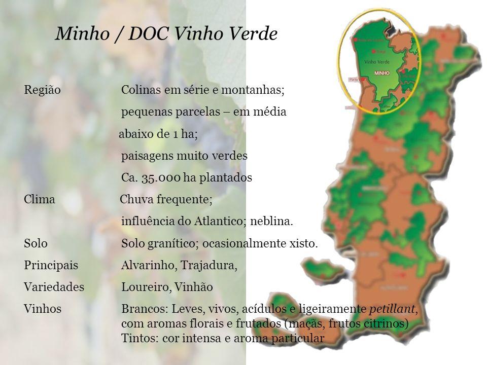 Minho / DOC Vinho Verde RegiãoColinas em série e montanhas; pequenas parcelas – em média abaixo de 1 ha; paisagens muito verdes Ca.