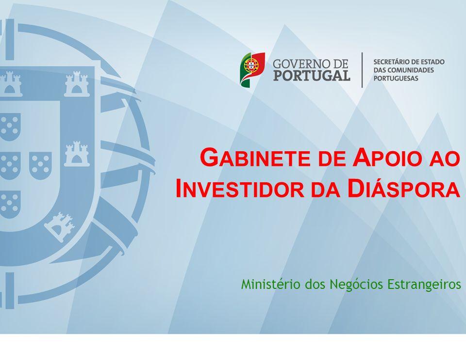 G ABINETE DE A POIO AO I NVESTIDOR DA D IÁSPORA Ministério dos Negócios Estrangeiros