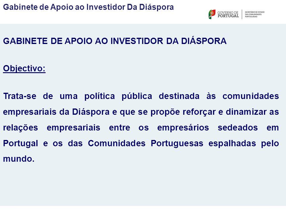 GABINETE DE APOIO AO INVESTIDOR DA DIÁSPORA Objectivo: Trata-se de uma política pública destinada às comunidades empresariais da Diáspora e que se propõe reforçar e dinamizar as relações empresariais entre os empresários sedeados em Portugal e os das Comunidades Portuguesas espalhadas pelo mundo.