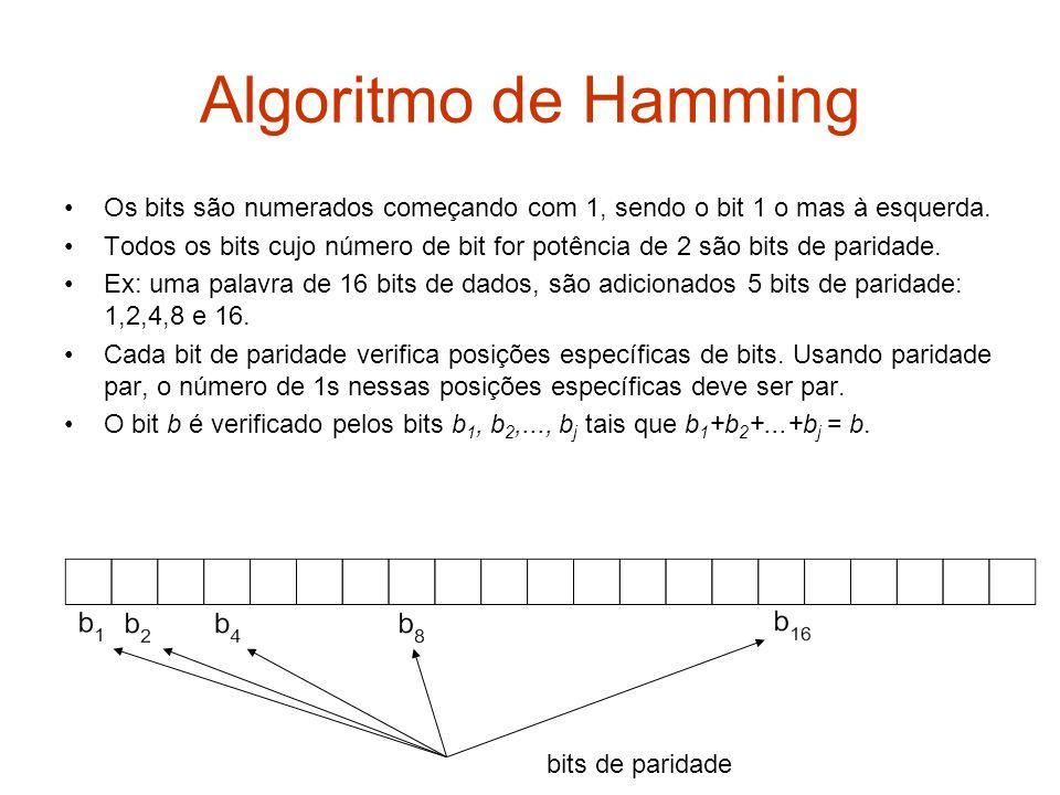 Algoritmo de Hamming Os bits são numerados começando com 1, sendo o bit 1 o mas à esquerda. Todos os bits cujo número de bit for potência de 2 são bit