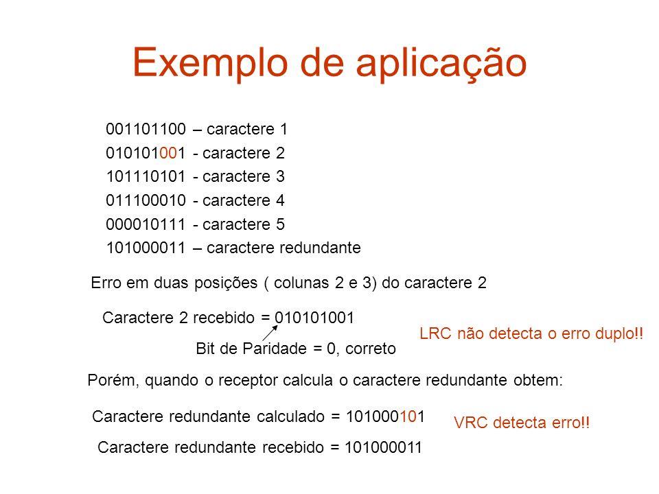 Exemplo de aplicação 001101100 – caractere 1 010101001 - caractere 2 101110101 - caractere 3 011100010 - caractere 4 000010111 - caractere 5 101000011